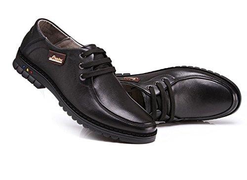 OEMPD Chaussures en Cuir Pour Hommes Black Blvo2