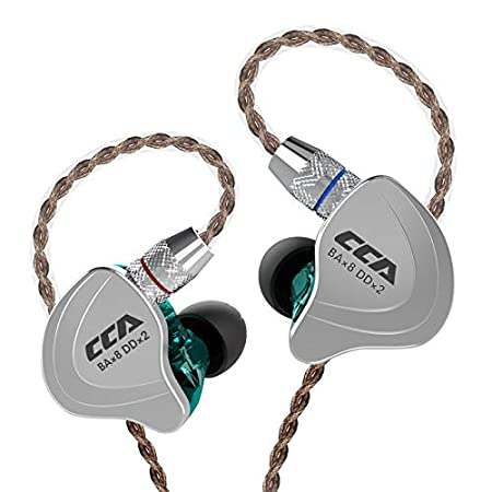 Cca C10 High Performance In Ear Monitor,Hi Fi 1 Dd 4 Ba Hybrid Five Drivers In Ear Earphone,Zinc Alloy Shell+Resin Cavity Wired Earbuds With 0.75mm 2 Pin Gold Plated Detachable Cable(Cyan Without Mic) by Better