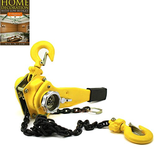 Come Along Puller Winh Tool 1.5 Ton Lever Capacity 5FT Lifter 1-1/2 Heavy Dute Ratchet Type Block Chain Hoist Cold Rolled Steel - House Deals from House Deals