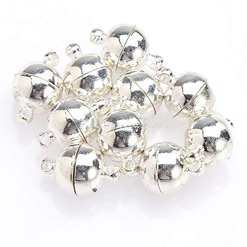 BLagenertJ 10Pcs Loose Beads Round Ball Magnetic Clasps for Jewelry Making Craft Silver Plated 6mm ()