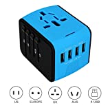 Jollyfit International Universal Travel Adapter 4 USB Ports 2.4A Charger AC Socket Power Wall Plug US UK AU EU Worldwide 150 Countries With Safe Fuse For Europe USA France Italy (Blue 4 USB)