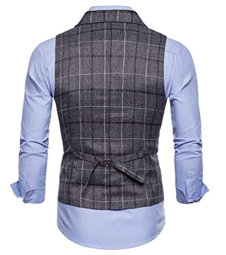 Single Gris Blouson Veste Business breasted Col Brinny Grille Leisure Sans Waistcoat Vest Gilet Carreaux Costume Manches Homme Foncé 4P0qa