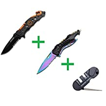 TF-723EM and TF-705RB Folding Knife Set with Spring Assisted Open and Glass Breaker Plus One X-Treme Edge Pocket Knife Sharpener