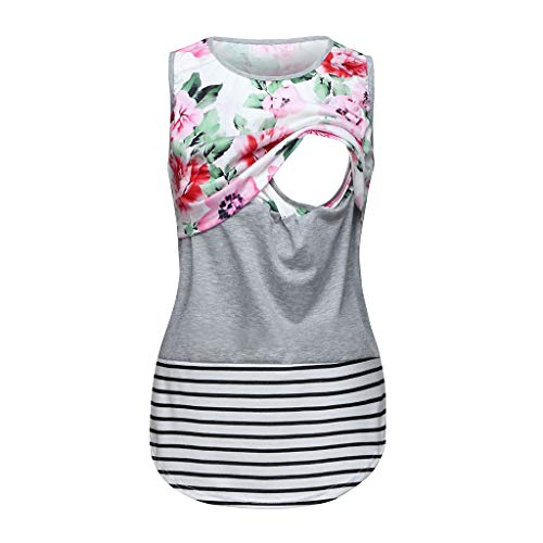 Nihewoo Women's Maternity Tank Tops Floral Sleeveless Tees Nursing Shirts Blouse Breastfeeding Clothes