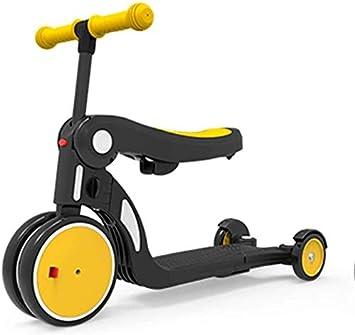 3-en-1 Vespa, altura ajustable y plegable scooters for los niños, cabritos del niño, motos plegable for niños, 1-6 años Antiguo equilibrio bici del bebé de los niños del triciclo ( Color : Yellow )