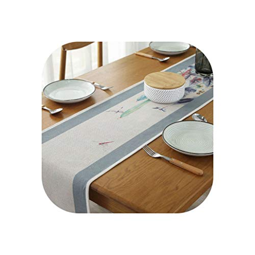 Wenzi-day Painting Printed Cotton Linen Table Runner Long Tablecloth Vintage Tea Table Cloth Tea Ceremony Table mat Cover,30210cm,A -