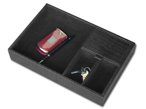 Crocodile Embossed Leather Letter Tray - Dacasso A2463 Crocodile Embossed Leather Valet Tray, Standard, Black by Dacasso
