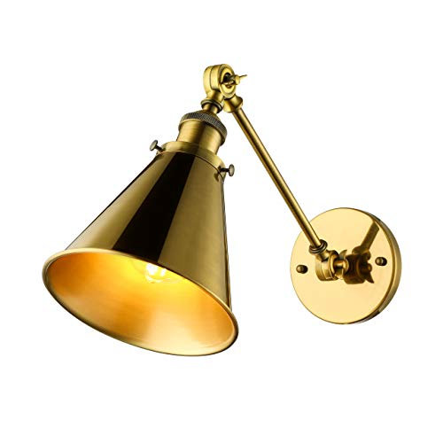 BAYCHEER Industrial Vintage Wall Sconce Wall Lamp Light Fixture with Cone Shade for Indoor Bar Warehouse Hallway Restaurant with E26 Light Bulb Socket, Gold from BAYCHEER