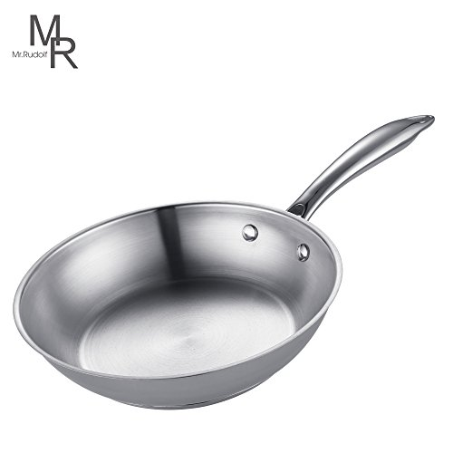 Mr. Rudolf 8 inch 18/10 Stainless Steel Omelet Pan Frying Pan Omelets Skillet Dishwasher Safe APEO& PFOA Free