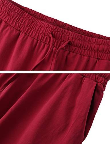 con Pigiameria da 2 T 1 shirt notte style in lunga Donna pantaloni cotone Aibou Red pezzi manica 175vqv