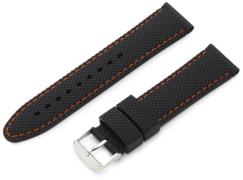 Hadley-Roma Men's MS3315RAG220 22-mm Genuine Silicone Diver Sport Watch Strap