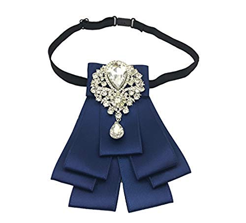 High-grade Rhinestone Women Crystal Bow Brooches Collar Pin Jewelry ribbon Fabric Bowknot (blue)