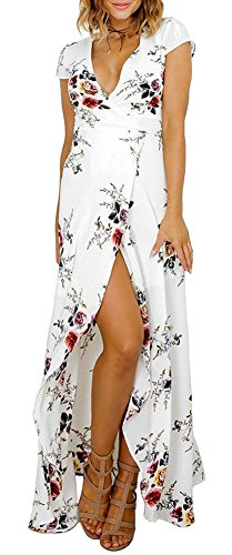 Women's Sexy Deep V Floral Print Button Front Boho Maxi Long Beach Dress