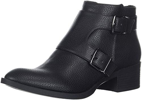 Kenneth Cole REACTION Women's Re-Buckle Moto Ankle Boot, Black, 6.5 M US