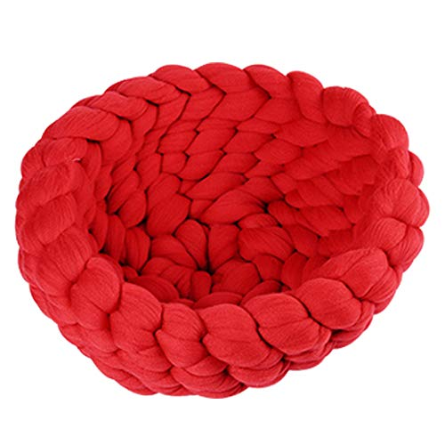 Red X-Large Red X-Large Pet Bed for Cats Small Dogs Cat Litter Kennel Pet Nest Round Kennel Handmade Coarse Wool Pet Nest Soft Comfy Washable (color   Red, Size   XL)