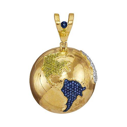 Diamond Globe Charm - 10k Yellow Gold Mens Round Blue Color Diamond Globe Planet Earth Charm Pendant 1-1/8 Ct.