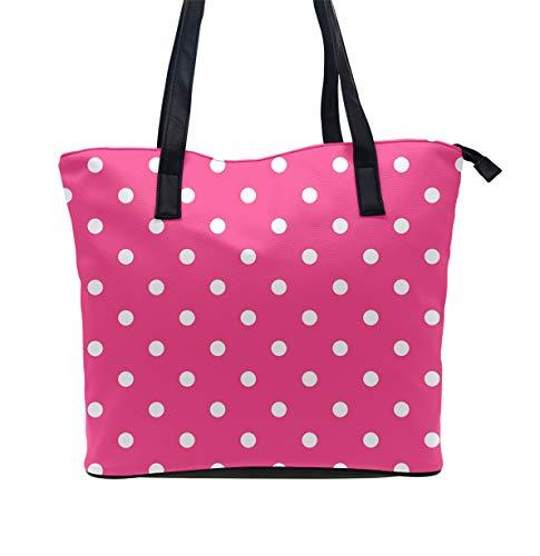 Women Pink Polka Dot Tote Satchel Eco-Friendly Leather Hobo Handbags, Big Capacity Tote Shoulder Bag for Travel Business School, Multifunctional Messenger Bag