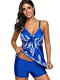 Zando Womens Printed Spaghetti Strap Swimwear Bathsuit Tank Top Printed Floral Swimsuits Padded Two Piece Swimming Tankini Set For Teen Girl Royal Blue Floral Print M (fits like US 8-10) Prime