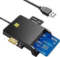 接触型ICカードリーダーライター CAC/SD/Micro SD (TF)/SIM スマートカードリーダー USB接続 国税電子申告 e-Tax 自宅で確定申告 ICチップのついた住民基本台帳カード マイナンバーカード 住基カードに対応...