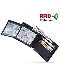 Mens Wallet Genuine Leather RFID Blocking Wallet Slim Trifold Credit Card Holder Black