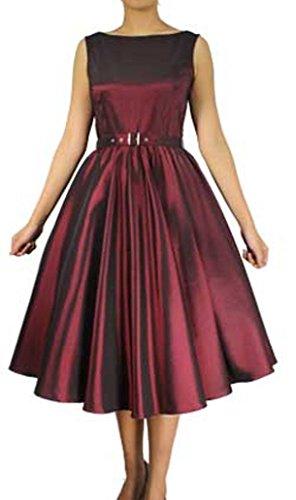XXL XS Satin Prom Belted 50s Burgundy Audrey Lindy Retro 40s Dress Hop Dark drnTFvAqr