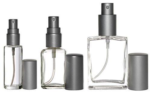 Riverrun Perfume Cologne Atomizer Variety Set Empty Refillable Glass Bottles Matte Silver Sprayers 3 sizes 1 6, 1 2, 1 oz