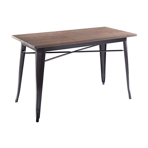 Costway wood dining table kitchen modern furniture bistro for Durable kitchen table