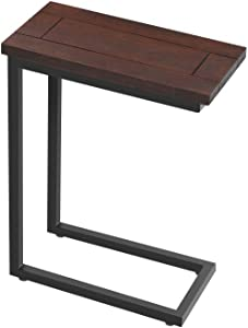 AZ L1 Life Concept C Side Table Sofa End Tables for Home Office, Living Room Accent Snack Table Couch Table for Coffee Laptop Solid Wood TV Tray Metal Frame 18 Inches