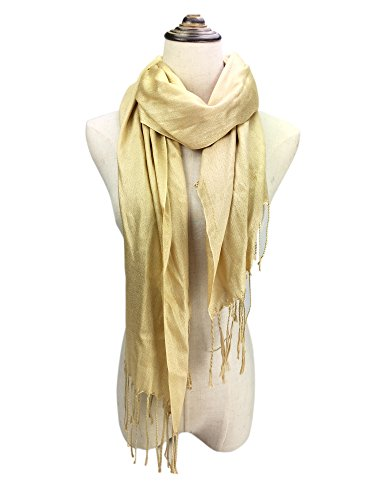 YOUR SMILE Womens Wedding Evening Wrap Shawl Glitter Metallic Prom Party Scarf with Fringe (Gold)