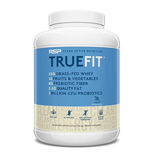 RSP TrueFit (4LB) – Grass Fed Lean Meal Replacement Protein Shake, All Natural Whey Protein Powder with Fiber & Probiotics, Non-GMO, Gluten-Free & No Artificial Sweeteners,Vanilla (Packaging May Vary)