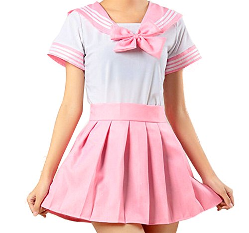 WenHong Japan School Uniform Dress Cosplay Costume Anime Girl Lady Lolita (Asia Large, Pink02) -