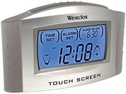 Westclox Touch Screen LCD Digital Alarm Clock with Temperature Display /& Snooze