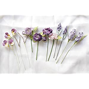 "Mini Paper Flower Set of Mini Flowers Pansy Purple 10"" length 18"