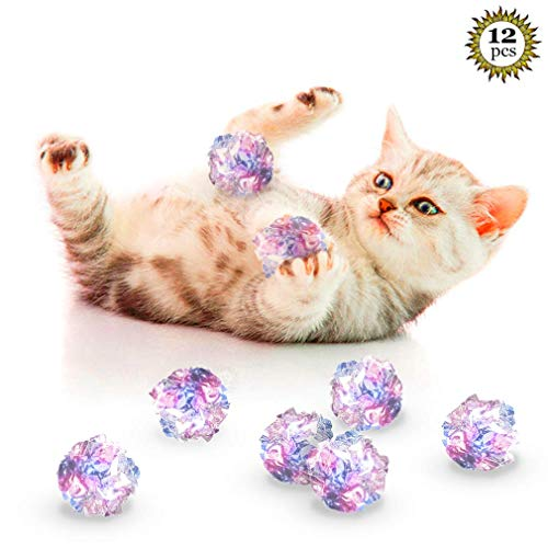 SunGrow Mylar Crinkle Balls for Cats, 1.5-2 Inches, Shiny and Stress Buster Toy, Lightweight and Suitable for Multiple…