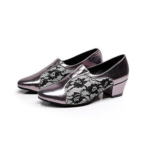 Baile Tacón T T de Flocado de Aguja Mujer Q Negro de Negro Zapatos Principiante nS8qSI