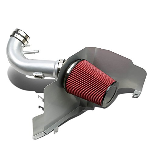 For Ford Mustang Silver Coated Aluminum Air Intake Pipe+Red Filter - V8