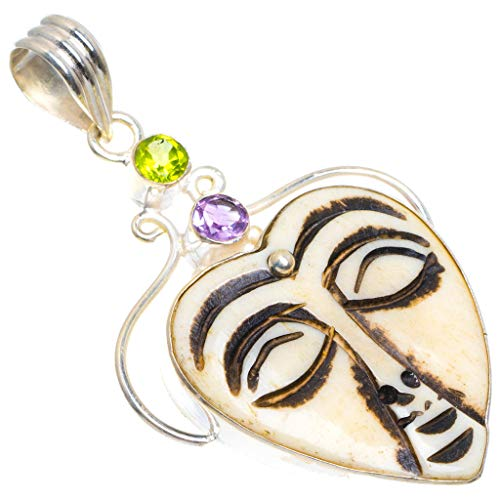 (Natural Jasper, Amethyst and Green Topaz Buddha Face Carved 925 Sterling Silver Pendant 2.3