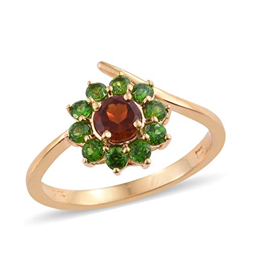 - 925 Sterling Silver Vermeil Yellow Gold Plated Citrine Chrome Diopside Statement Ring for Women Size 7 Cttw 1