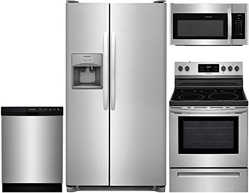 Frigidaire 4-Piece Stainless Steel Kitchen Package with FFSS2615TS 36″ Side-by-Side Refrigerator, FFEF3054TS 30″ Freestanding Electric Range, FFBD2412SS 24″ Full Console Dishwasher and FFMV1645TS 30″