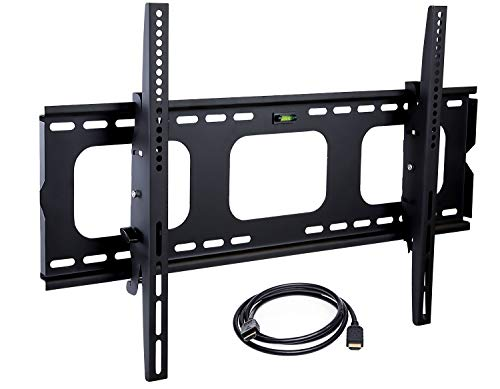 "Mount-It! MI-303B Tilt TV Wall Mount Bracket for LCD, LED, or Plasma Flat Screens, 32"" – 65"" Screen Sizes, HDMI Cable Included, Black"