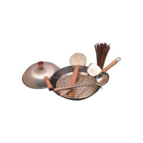 flat bottom carbon steel wok 14 - 8