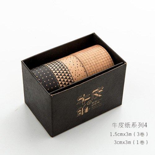 Kraft Masking Paper - MiiSii 4PCS Kraft Paper Decorative Masking Washi Tape for Scrapbooking Album Journal Gift Packing (1 x 30mm Tape + 3pc x 15mm Tapes) (STYLE 4)