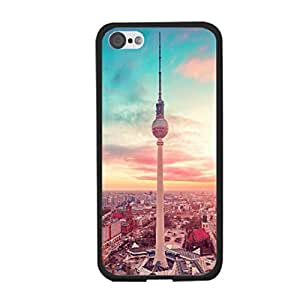 Personalized Pretty Nature Landscape Design Hard Plastic Back Cover Case for Iphone 5c Protective Cell Phone Skin for Girls (city tower)
