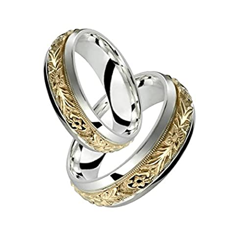 Alain Raphael 2 Tone Sterling Silver and 10k Yellow Gold 7 Millimeters Wide Wedding Band Ring Set (Leaf Ring White Gold)