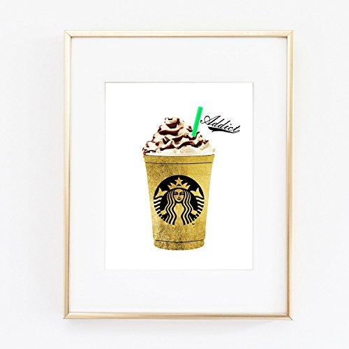 Starbucks Gold Foil Coffee Print Wall Art Home Office Home Decor Bedroom Kids Baby