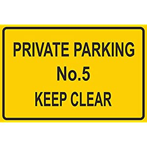 INDIGOS UG - Sticker - Safety - Warning - PERSONALISED NO PARKING ANY HOUSE NUMBER / NAME SIGN 300mm x 200mm - KP-338
