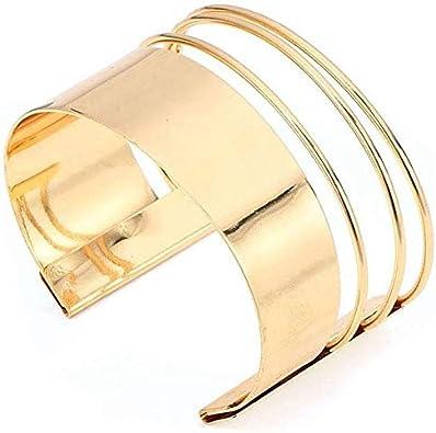 Luxe Femmes Or Punk Manchette Ouverte large Bracelet jonc Bracelet Fashion Jewelry
