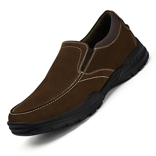 Men's Slip-On Loafers Suede Leather Slip Resistant Walking Shoes Brown 13