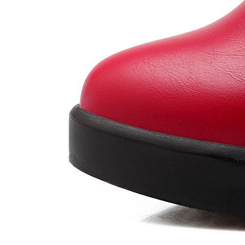 AllhqFashion Damen Reißverschluss Hoher Absatz Nubukleder Rein Niedrig-Spitze Stiefel Rot