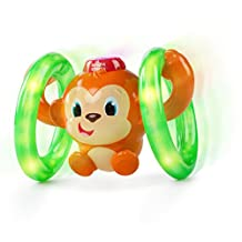 BRIGHT STARTS HAVING A BALL Lights Baby Roll and Glow Monkey, Red/Green Orange